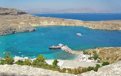 öböl görögország kikötő lindos strand tengerpart tenger
