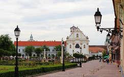 Magyarország, Vác, Március 15. tér, háttérben a Fehérek temploma