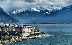 Montreux, Genfi-tó, Svájc, Alpok