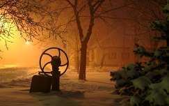 Ködös Hevesvezekényi téli este.