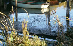 csónak bambusz tükröződés