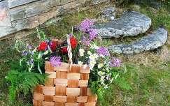 Finnország, nyári virágok nyírfa kosárban, lépcsők régi malomkőből