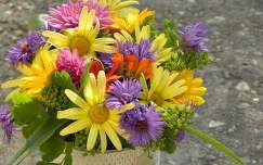 dália virágcsokor és dekoráció őszirózsa