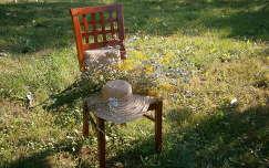 Csendélet székkel, szalmakalappal