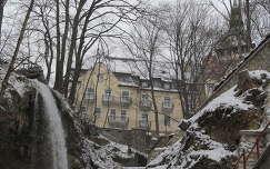 Miskolc-Lillafüred, a Szinva vízesése, háttérben a Palota szálló