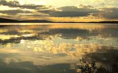 Lappföld, tó naplemente