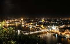 erzsébet híd duna budapest folyó magyarország éjszakai képek híd