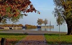 kikötő, balatonalmádi, park, ősz