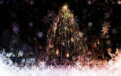 Montázs, karácsonyfa, díszek, Vörösmarty tér