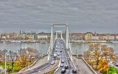 Erzsébet híd, Budapest, Duna, HDR