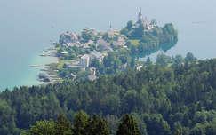 Ausztria,Maria Wörth látképe a Wörthi tóval
