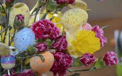 húsvét szegfű nárcisz tojás virágcsokor és dekoráció