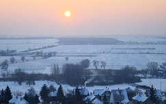 Kajárpéc, téli naplemente