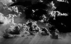 Fekete-fehér, felhő, fény