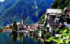 templom hallstatt ausztria alpok tó hegy