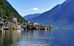 ausztria alpok hallstatt hegy nyár tó