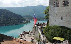 Kilátás a Bledi várból a tóra,Szlovénia