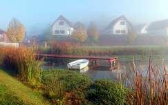 köd, csónak, móló, magyarország