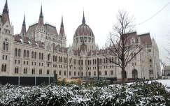 Kossuth tér behavazva,székely zászlóval,Budapest