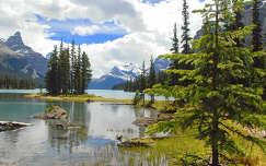 Spirit Island, Maligne-tó, Jasper Nemzeti Park, Alberta, Kanada