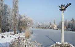 Szarvas-Zúzmarás téli Körös táj emlékművel