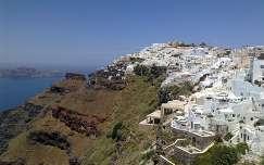 Görögország Santorini, kilátás Fira-ból