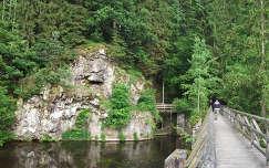 sziklák és fahíd az Ilz folyó mentén; Passau,Németország