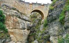 Spain,the city Ronda, view at the Old Roman Bridge