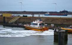 IJMUIDEN-NEDERLAND, At the beginning of the North-Sea Canal, the Pilot boat.